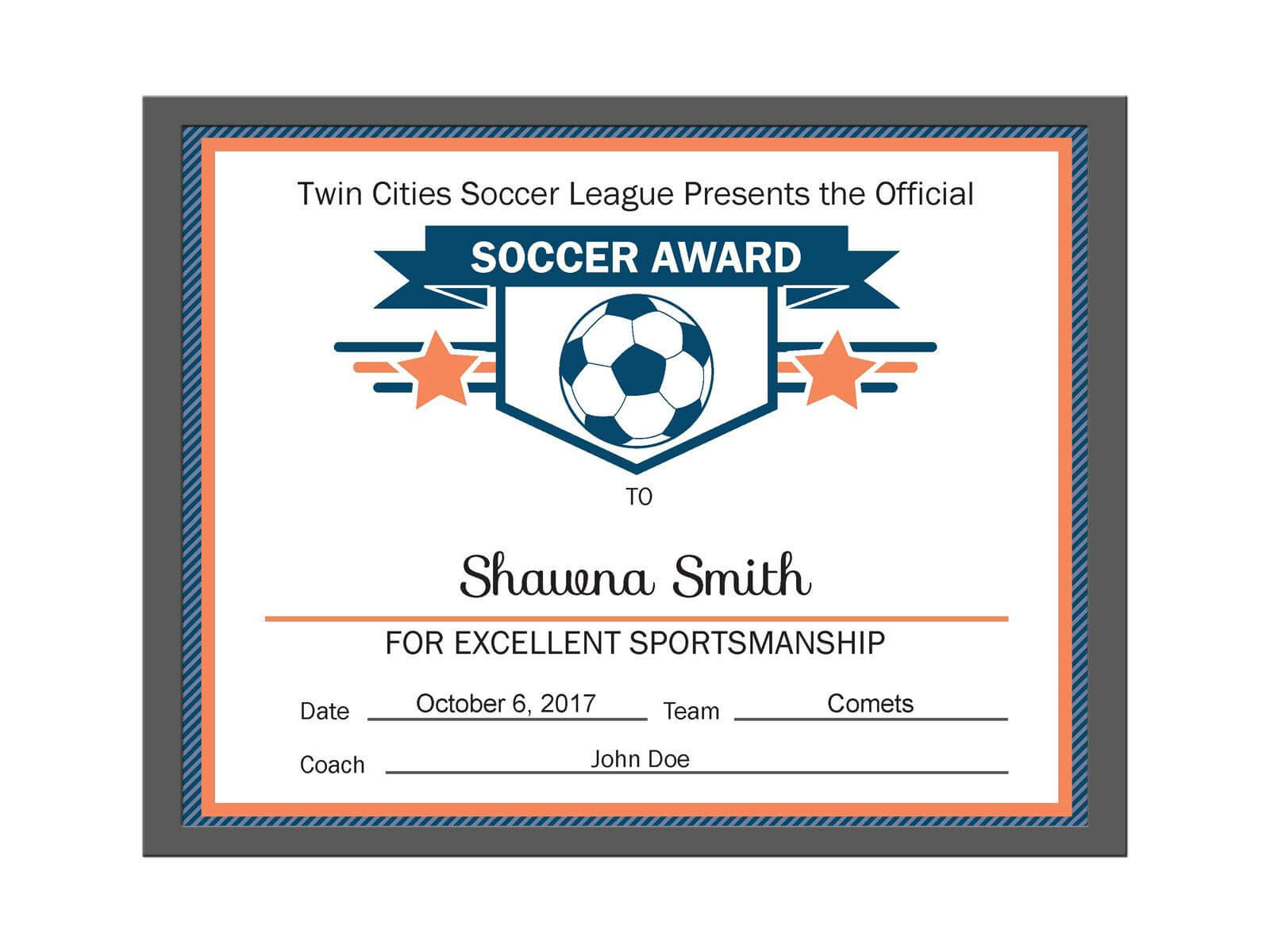 Editable Pdf Sports Team Soccer Certificate Award Template Pertaining To Track And Field Certificate Templates Free