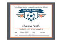 Editable Pdf Sports Team Soccer Certificate Award Template with Softball Certificate Templates