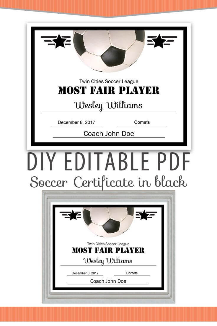 Editable Pdf Sports Team Soccer Certificate Diy Award intended for Soccer Certificate Template Free