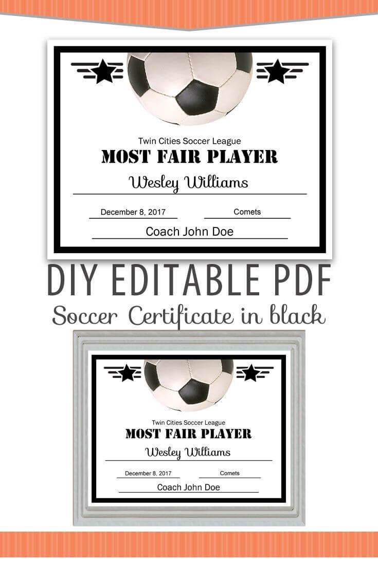 Editable Pdf Sports Team Soccer Certificate Diy Award regarding Free Softball Certificate Templates