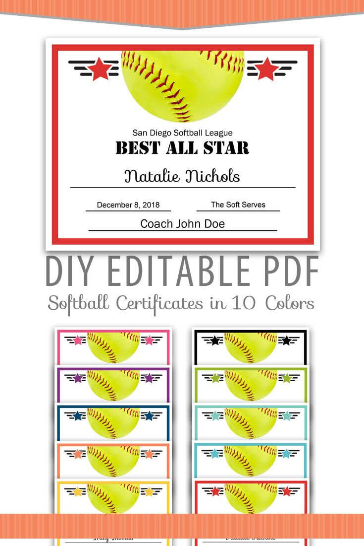 Editable Pdf Sports Team Softball Certificate Award Template Intended For Free Softball Certificate Templates