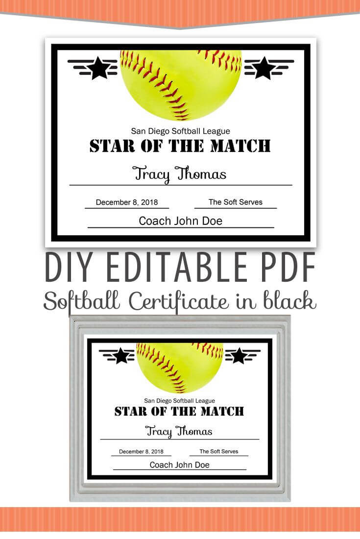 Editable Pdf Sports Team Softball Certificate Diy Award Regarding Softball Certificate Templates