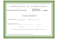 Editable Sample Certificate For Training Completion for Fall Protection Certification Template