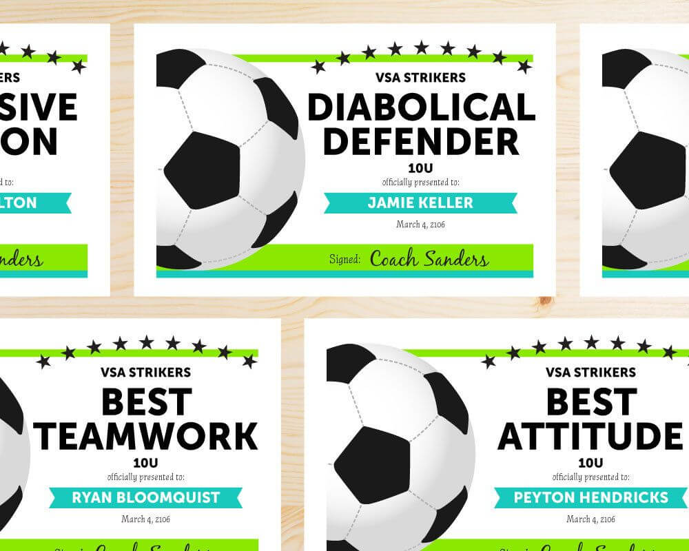 Editable Soccer Award Certificates - Instant Download For Soccer Award Certificate Templates Free