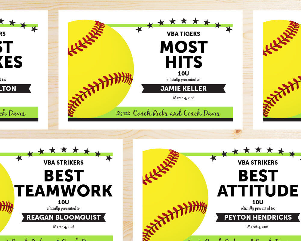 Editable Softball Award Certificates - Instant Download Printable - Lime  Green And Black intended for Free Softball Certificate Templates