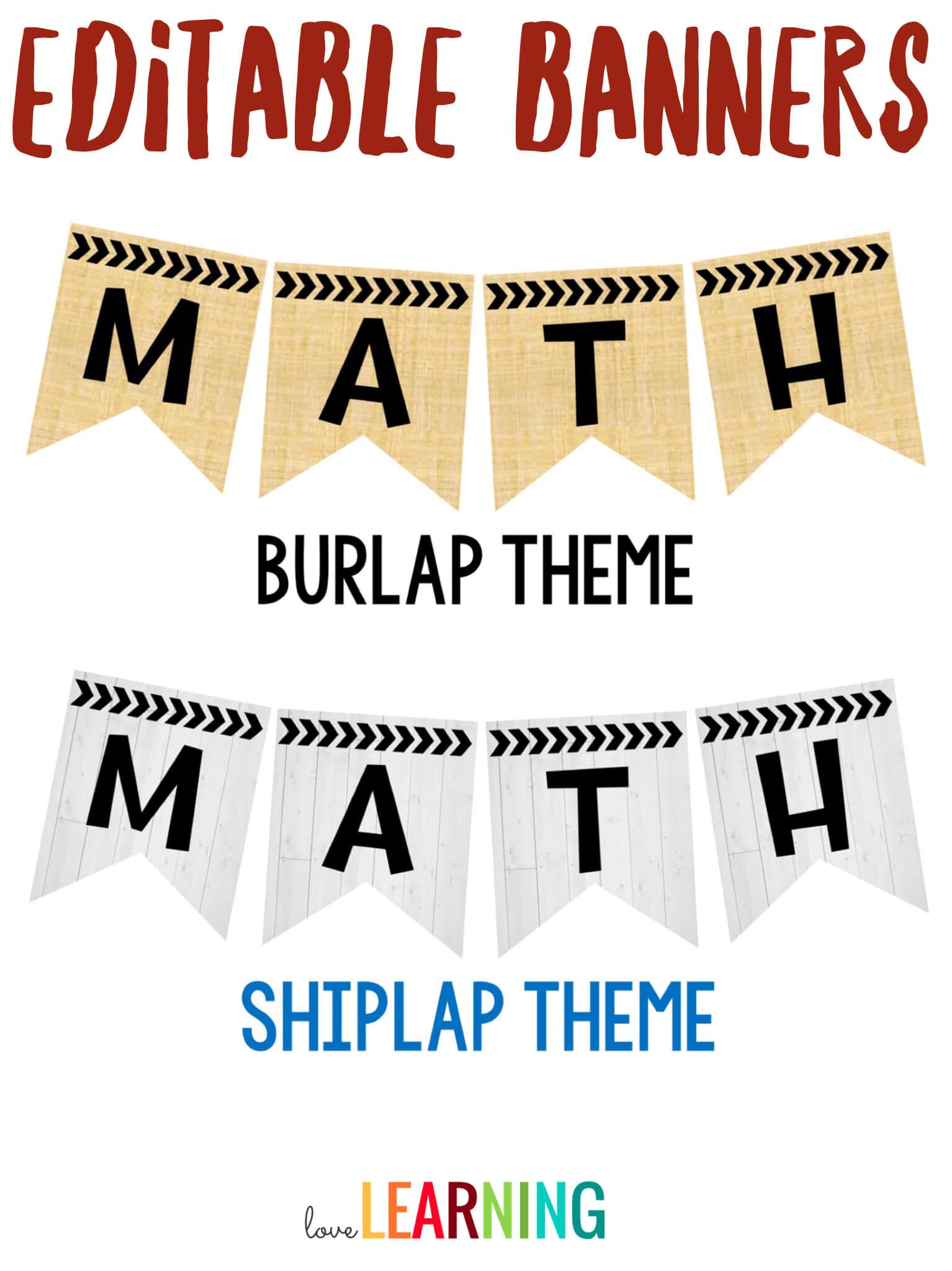 Editable Subject Banners - Burlap Theme | Classroom Regarding Classroom Banner Template