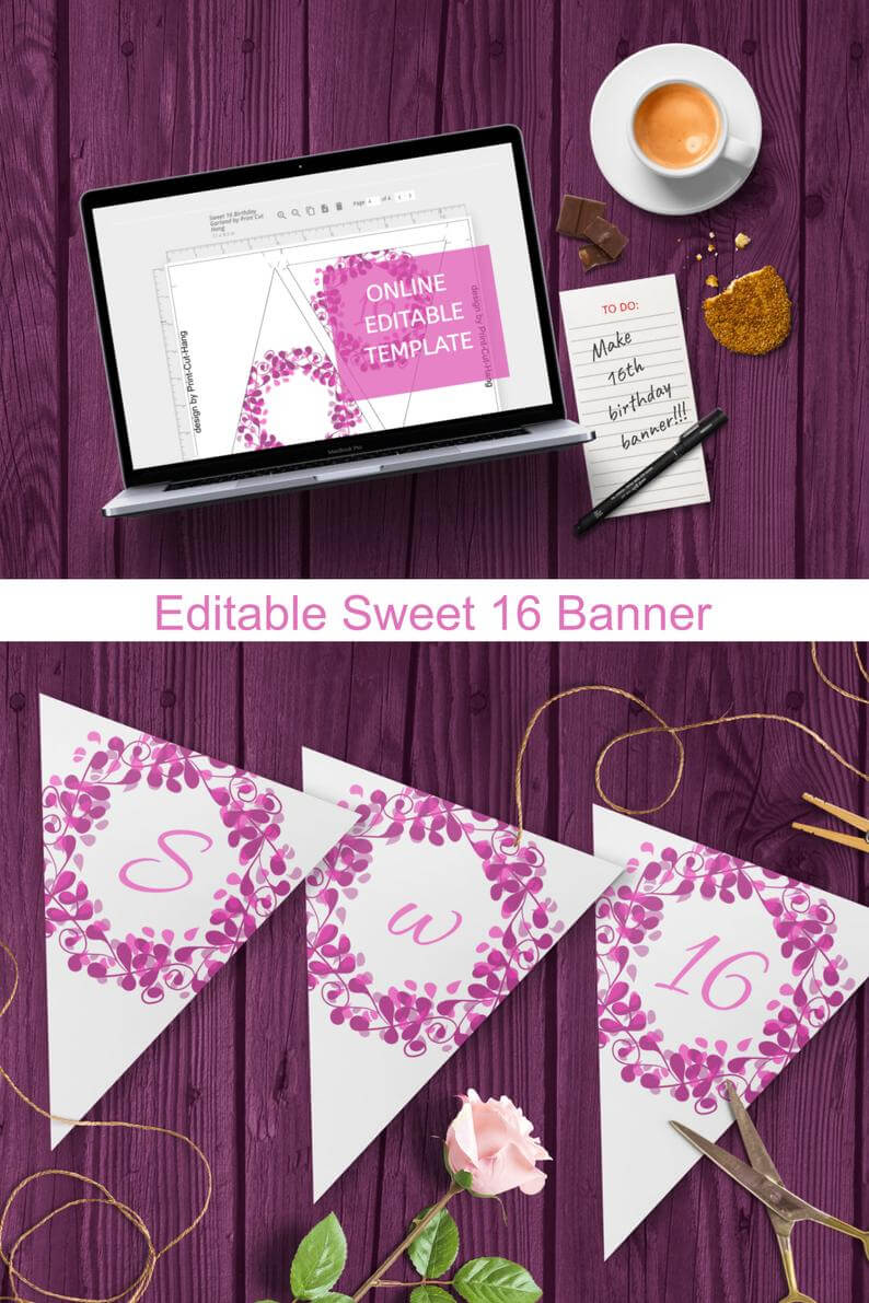 Editable Sweet 16 Banner Template For Pink Purple 16Th Birthday Decoration for Sweet 16 Banner Template