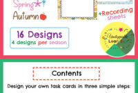 Editable Task Card Templates Seasonal Themed | My Products with Task Cards Template