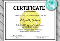 Editable Tennis Certificate Template – Printable Certificate Template –  Tennis Certificate Template Personalized Diploma Certificate Within Tennis Certificate Template Free