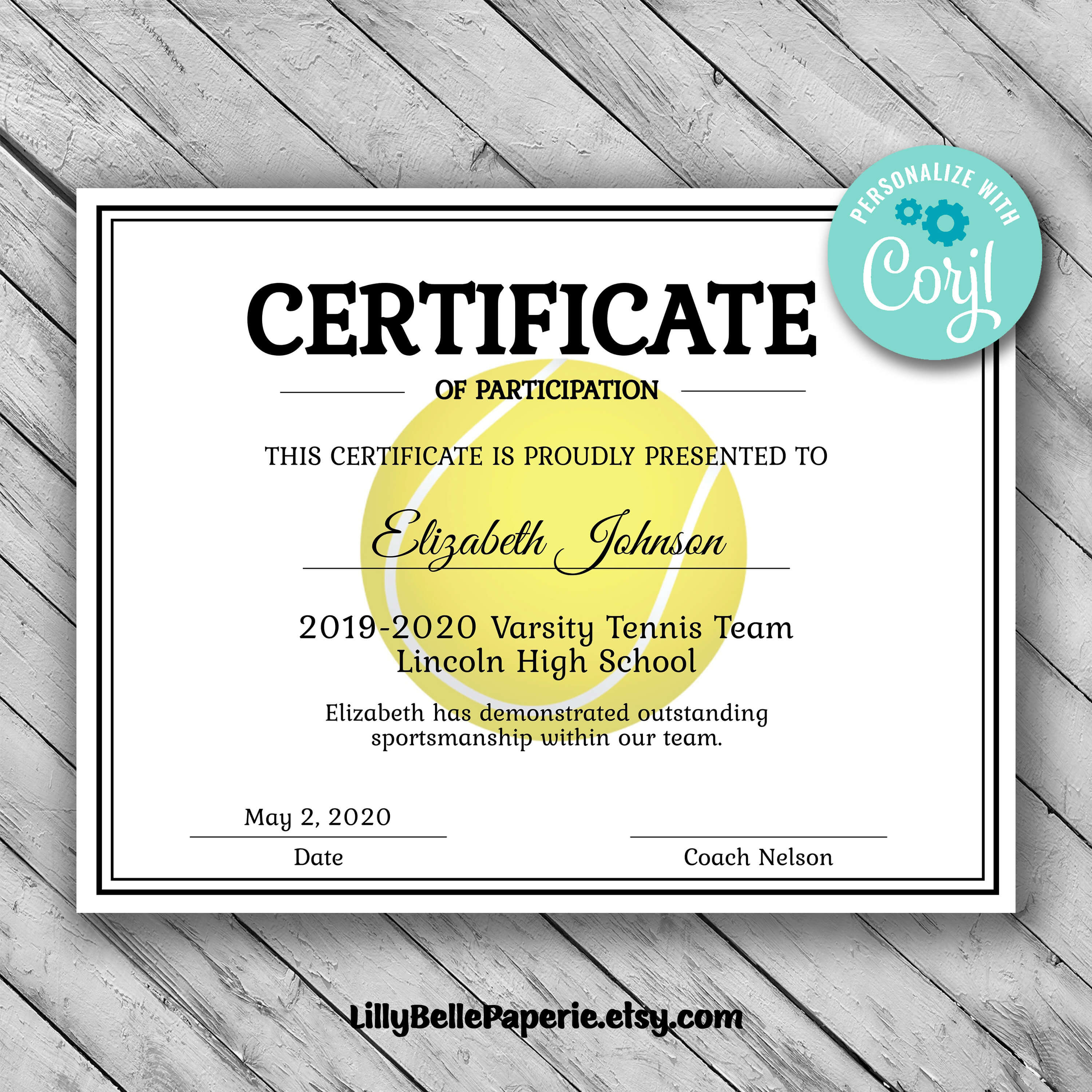 Editable Tennis Certificate Template - Printable Certificate Template -  Tennis Certificate Template Personalized Diploma Certificate within Tennis Certificate Template Free