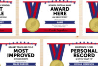 Editable Track And Field Award Certificates – Instant Download Printable –  Blue And Red in Track And Field Certificate Templates Free
