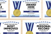 Editable Track And Field Award Certificates – Instant Download Printable –  Navy Blue And Light Sky Blue within Track And Field Certificate Templates Free