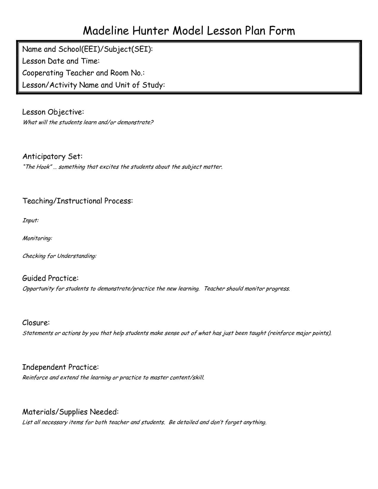 Eei Lesson Plan | Madeline Hunter Lesson Plan, Lesson Plan Pertaining To Madeline Hunter Lesson Plan Template Word