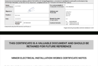 Electrical Certificate – Example Minor Works Certificate Inside Minor Electrical Installation Works Certificate Template