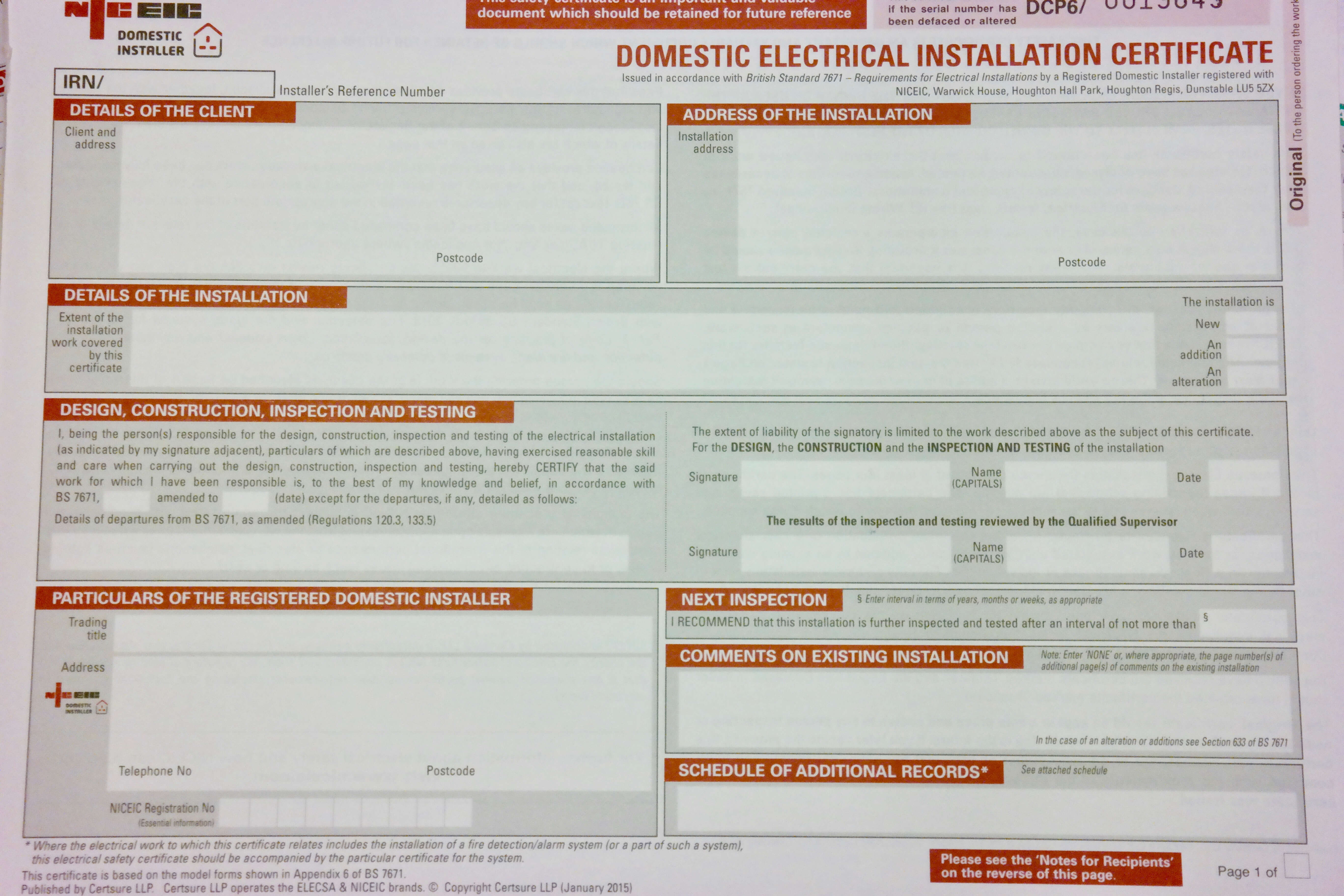 Electrical Installation Test Certificate Template With Regard To Electrical Installation Test Certificate Template