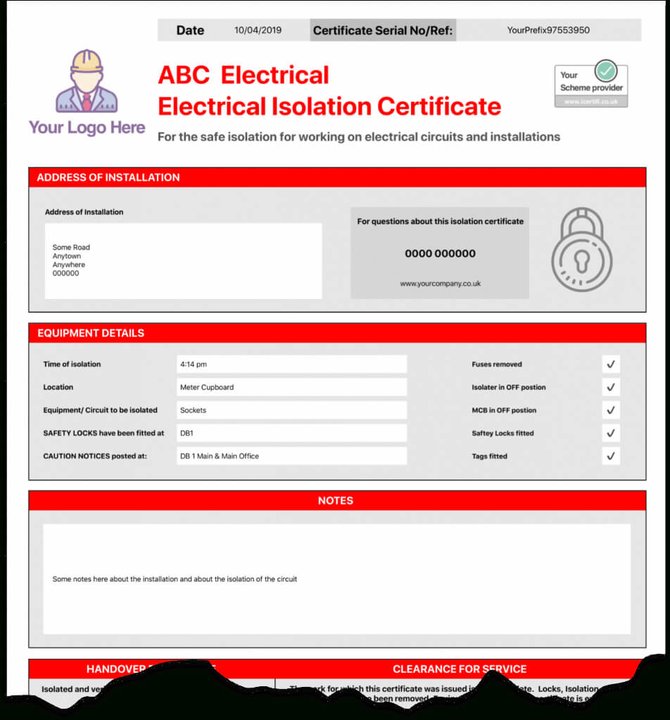 Electrical Isolation Certificate | Send Unlimited Throughout Electrical Isolation Certificate Template