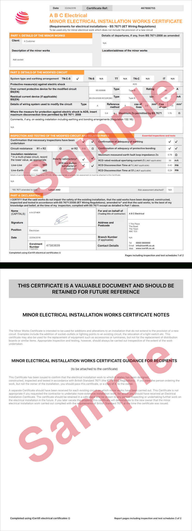 Electrical Minor Works Certificate Template Throughout Electrical Minor Works Certificate Template