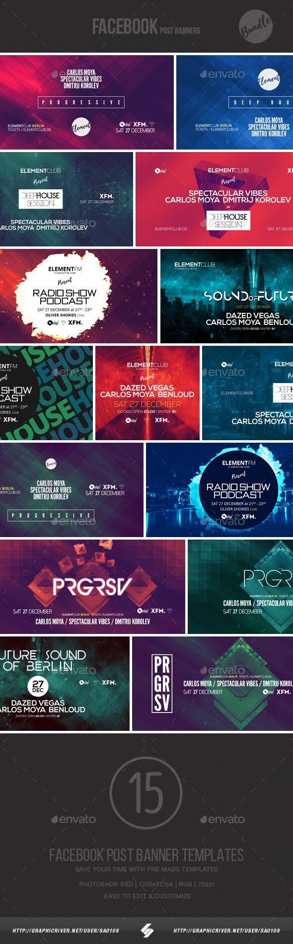 Electronic Music Event Facebook Post Banner Templates Psd in Event Banner Template