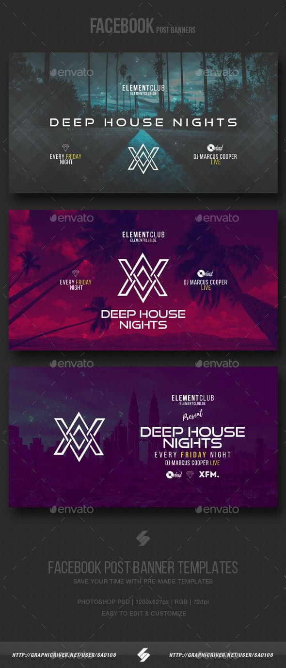 Electronic Music Party - Facebook Post Banner Templates Psd with Facebook Banner Template Psd