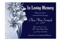 Elegant Blue Memorial Service Announcements   Zazzle pertaining to Death Anniversary Cards Templates