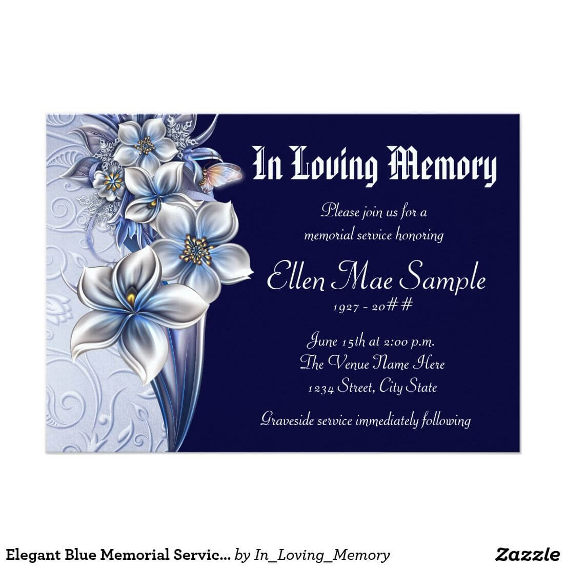 Elegant Blue Memorial Service Announcements | Zazzle pertaining to Funeral Invitation Card Template