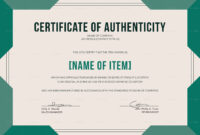 Elegant Certificate Of Authenticity Template Within Certificate Of Authenticity Template