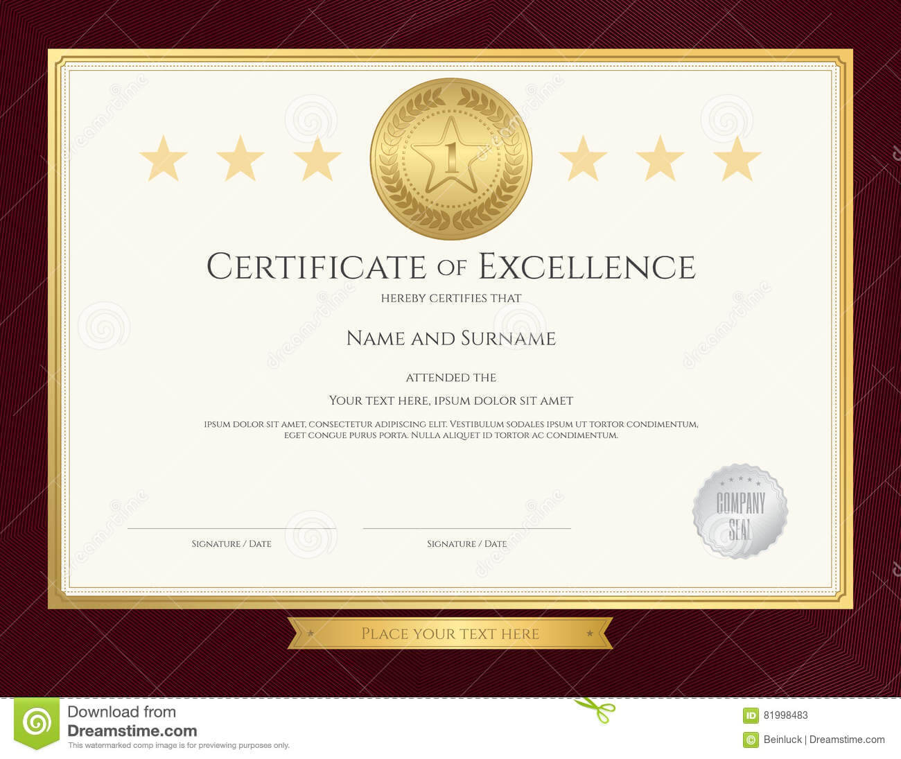 Elegant Certificate Template For Excellence, Achievement with Award Of Excellence Certificate Template