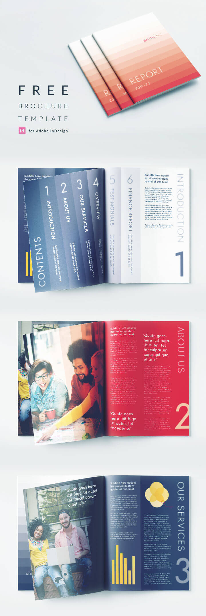 Elegant Corporate Brochure Or Report Indesign Template with regard to Free Indesign Report Templates