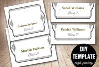 Elegant Wedding Placecard Template Foldover, Diy Black Gold regarding Fold Over Place Card Template