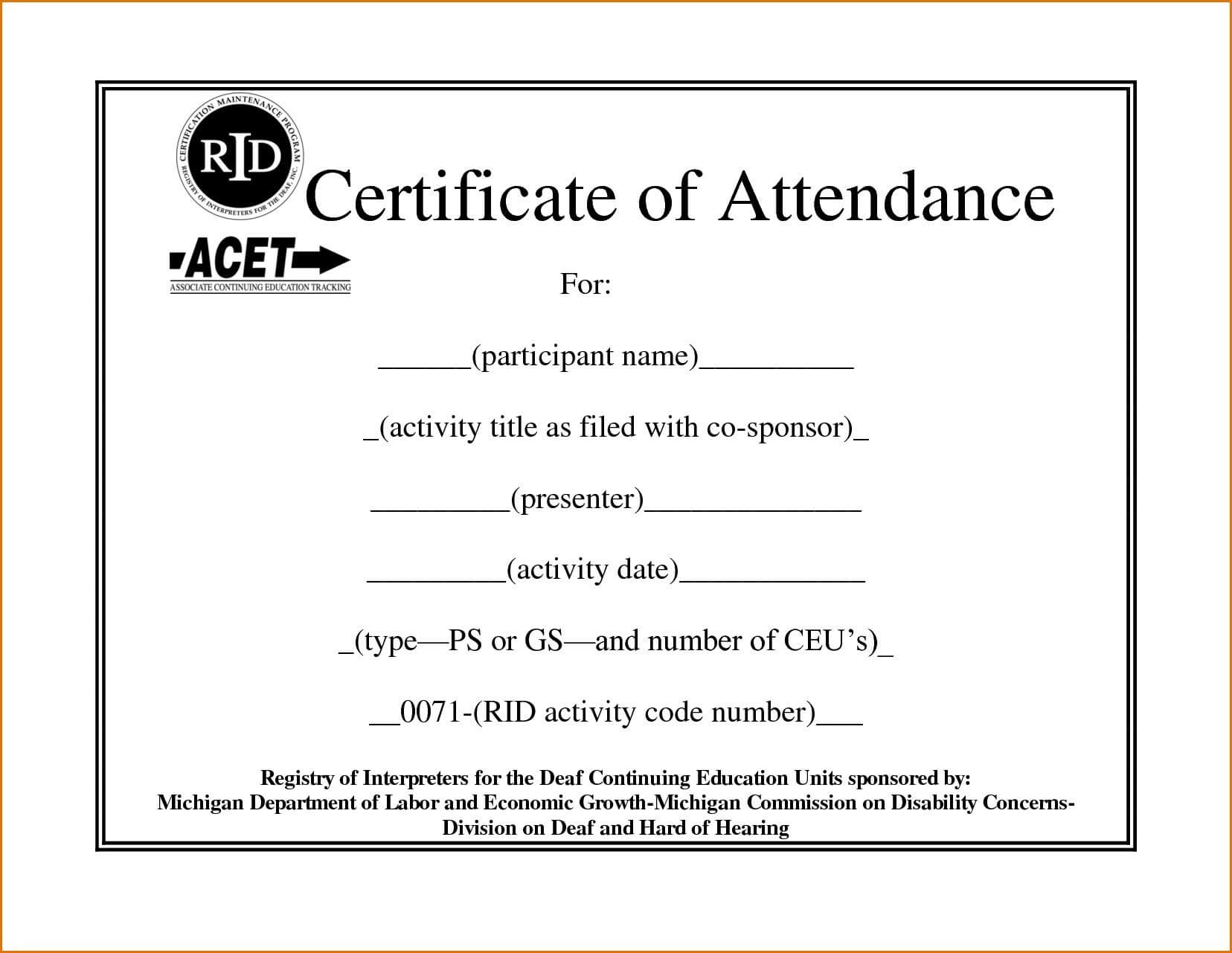 Elementary Perfect Attendance Certificate Template Free With Regard To Attendance Certificate Template Word