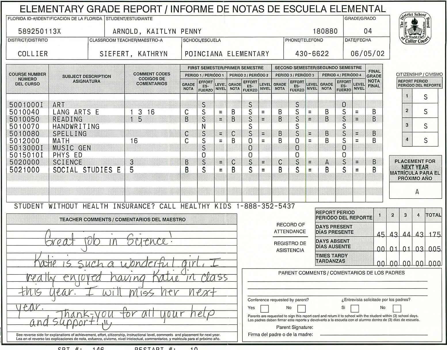Elementary School Report Card Template   Report Card Throughout High School Report Card Template