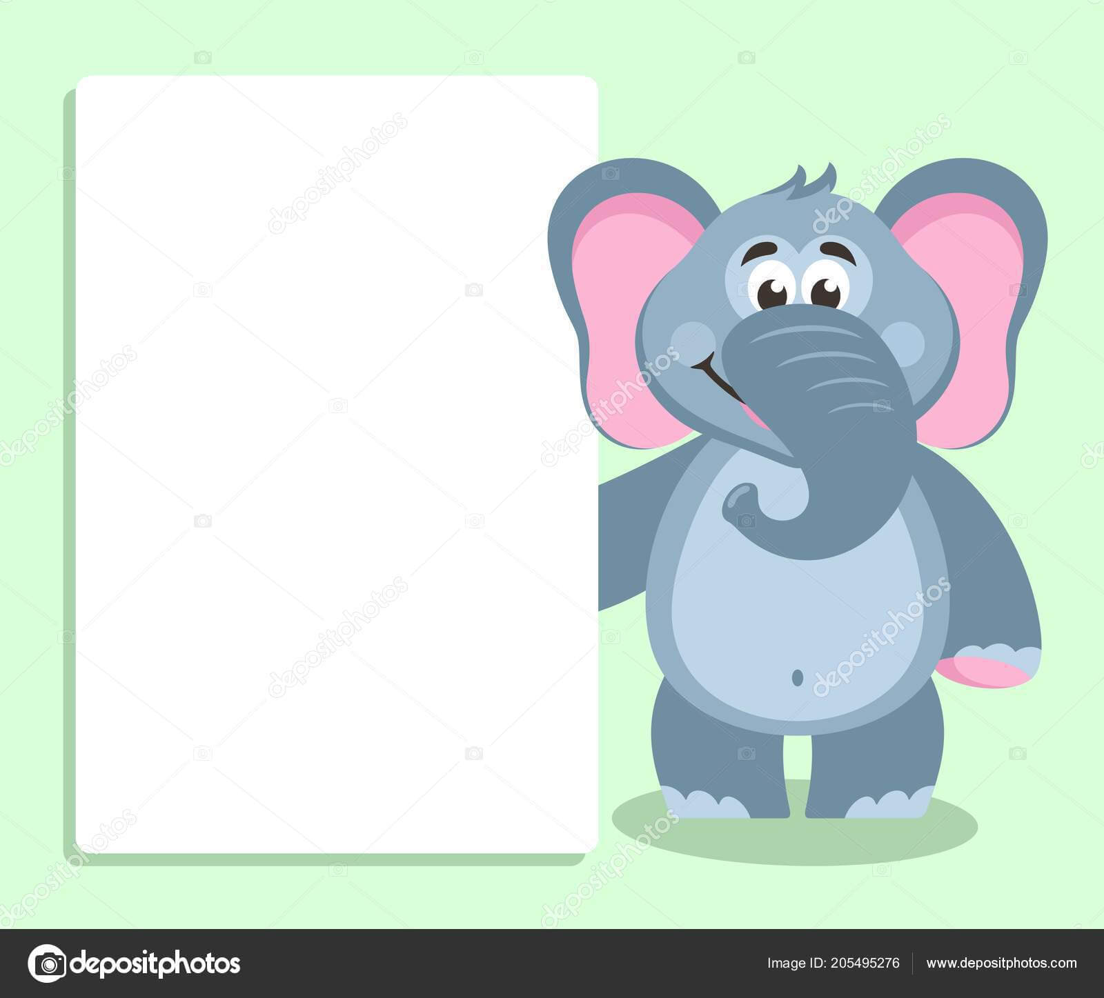 Elephant White Board Template Your Text Cartoon Character with regard to Blank Elephant Template