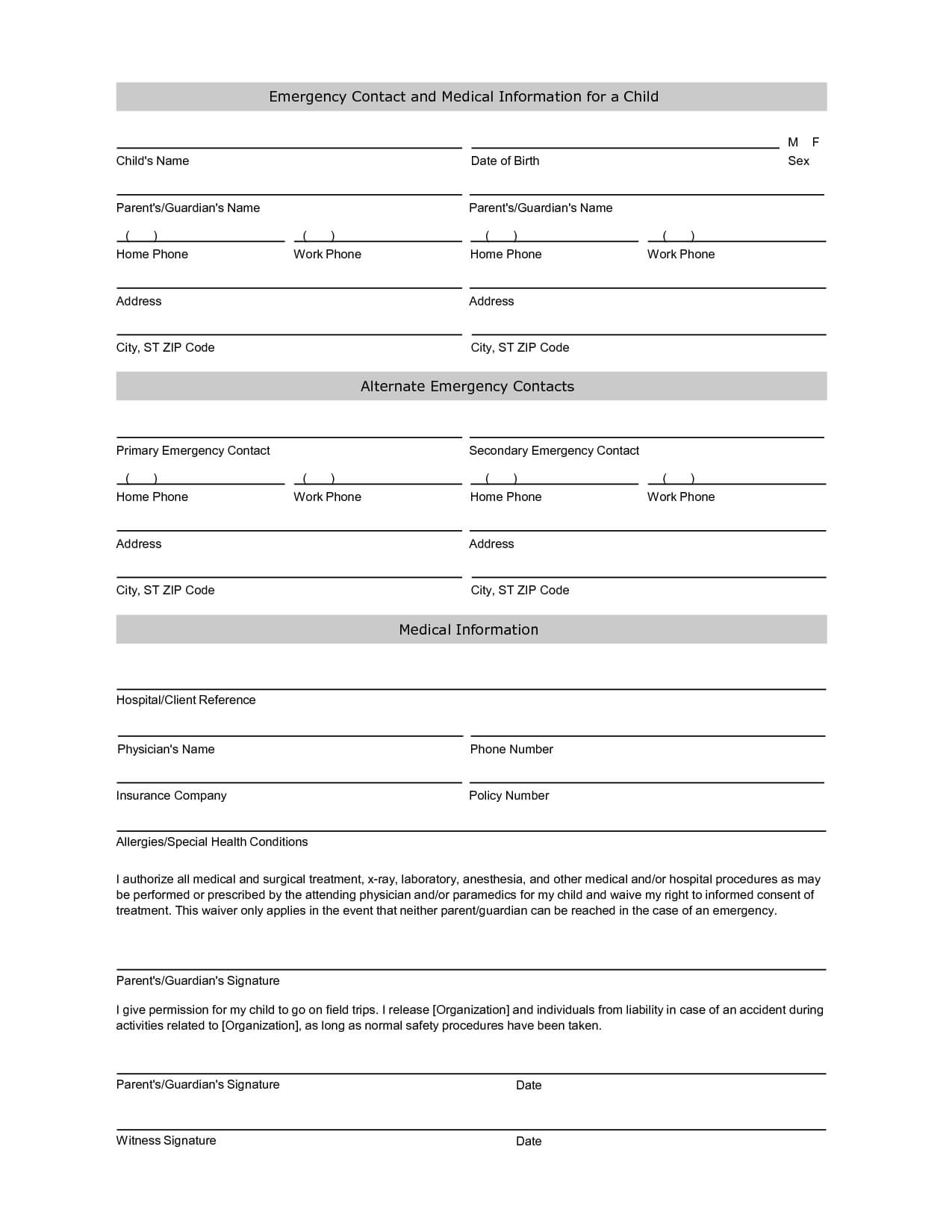 Emergency Contact Information Form Template | Emergency Inside Student Information Card Template