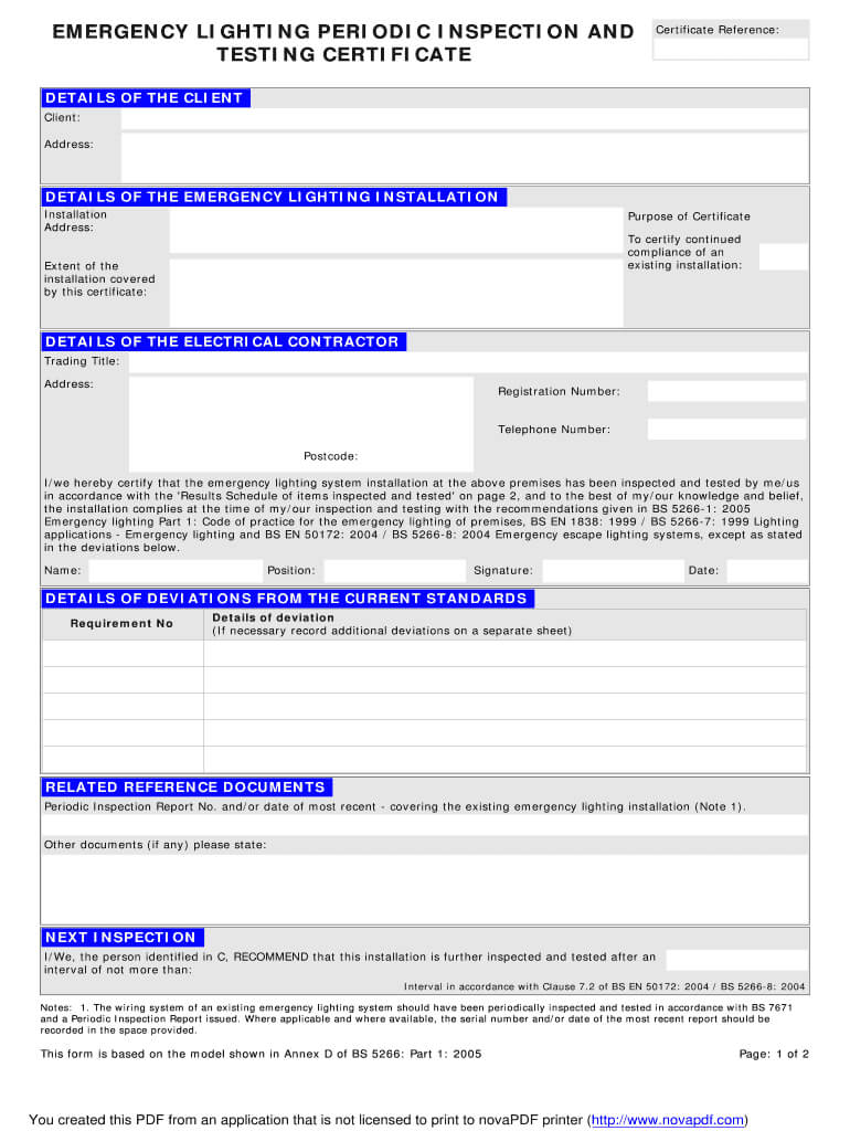 Emergency Lighting Certificate – Fill Online, Printable Within Electrical Installation Test Certificate Template