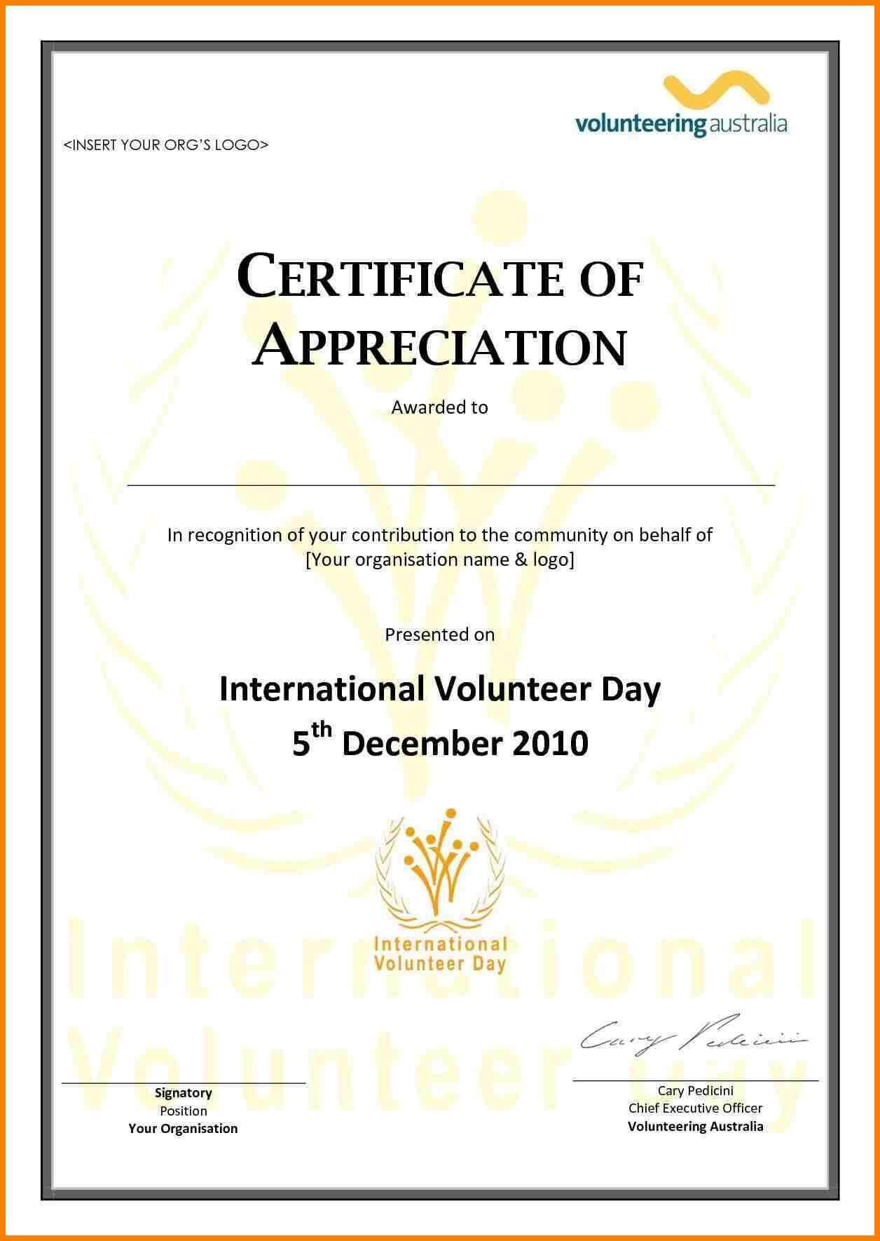 Employee Appreciation Certificate Template Free Resume in Volunteer Certificate Template