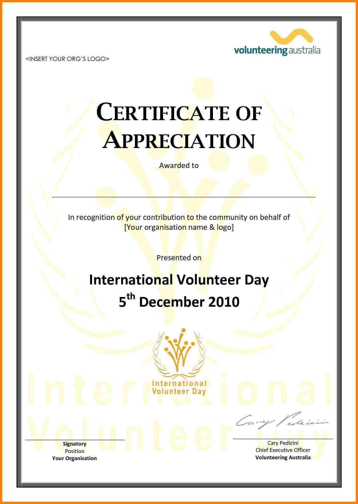Employee Appreciation Certificate Template Free Resume Within Volunteer Award Certificate Template