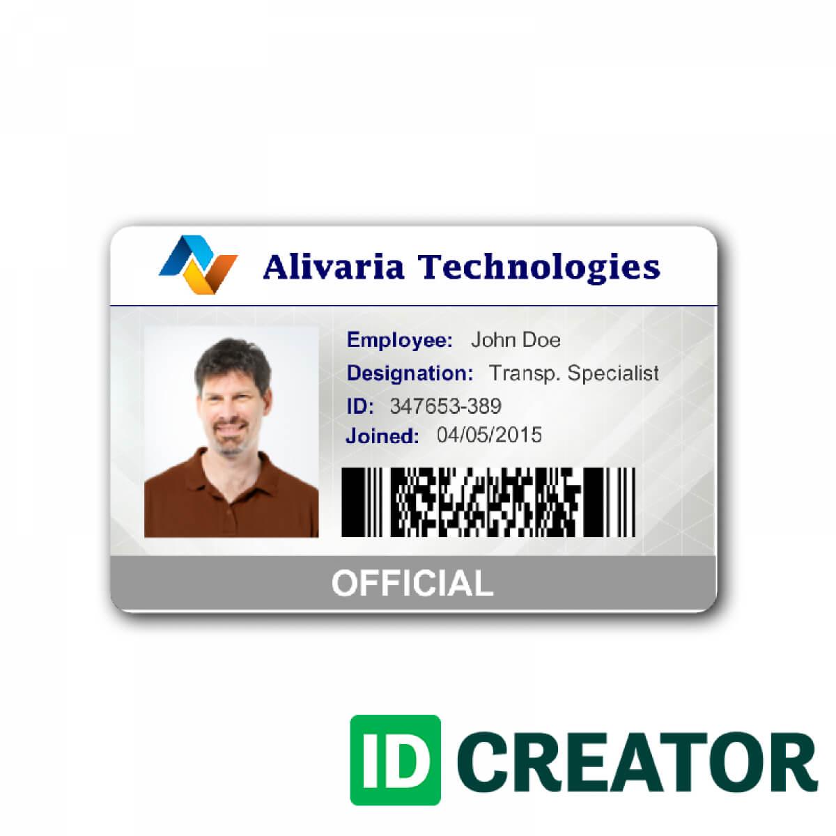 Employee Id Card Template Microsoft Word Free Download pertaining to Id Card Template Word Free