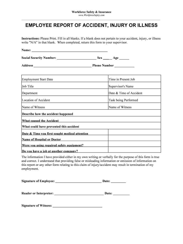 Employee Incident Report Template - Fill Online, Printable Throughout Injury Report Form Template
