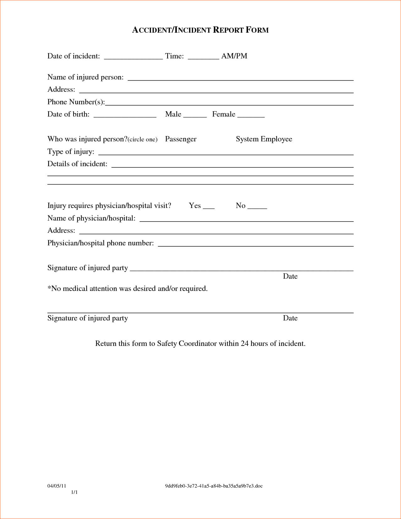 Employee Injury Report Form Template – Teplates For Every Day intended for Ohs Incident Report Template Free