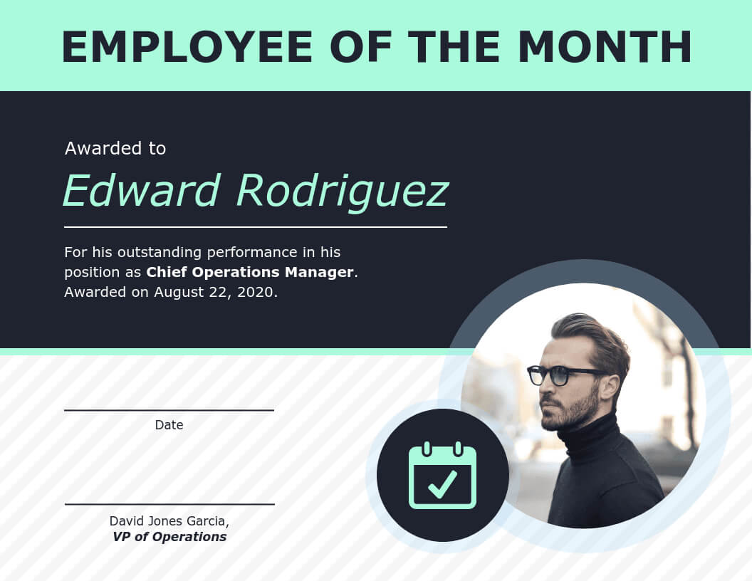 Employee Of The Month Certificate Of Recognition Template Pertaining To Employee Of The Month Certificate Template With Picture