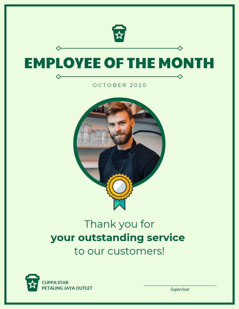 Employee Of The Month Certificate Template Template With Employee Of The Month Certificate Template With Picture