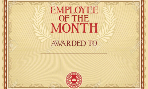 Employee Of The Month - Certificate Template with regard to Manager Of The Month Certificate Template