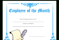 Employee Of The Month Certificate | Templates At with Employee Of The Month Certificate Templates