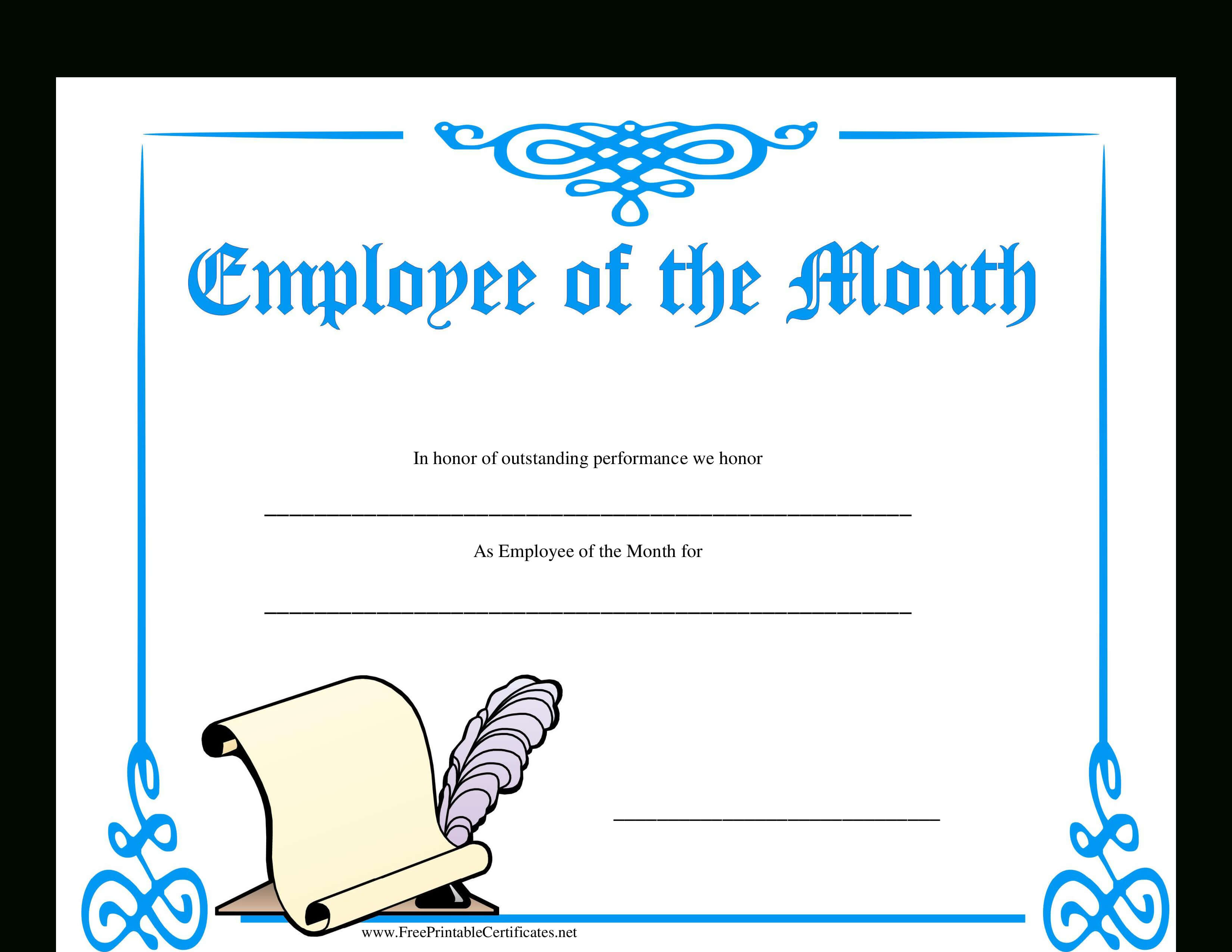 Employee Of The Month Certificate | Templates At with regard to Employee Of The Month Certificate Template With Picture