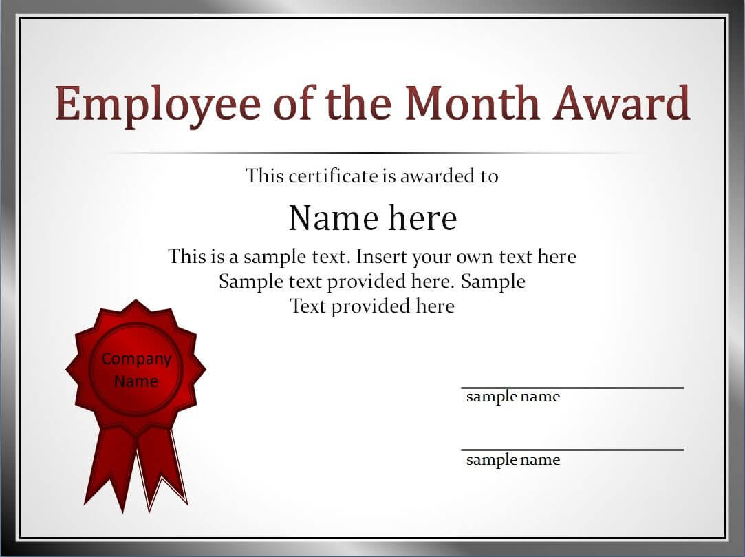 Employee Of The Month Certificate Templates pertaining to Employee Of The Month Certificate Template