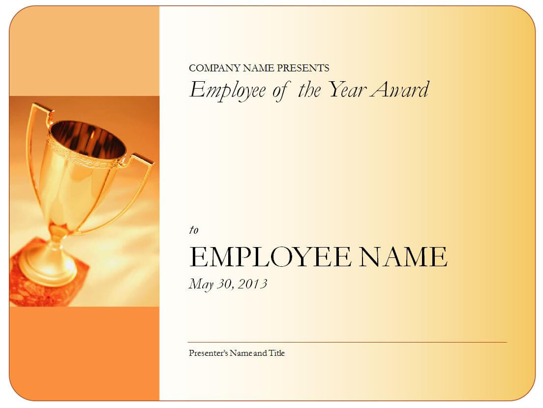 Employee Of The Year Certificate Blank With Regard To Employee Of The Year Certificate Template Free