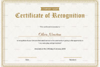 Employee Recognition Certificate Template regarding Template For Recognition Certificate