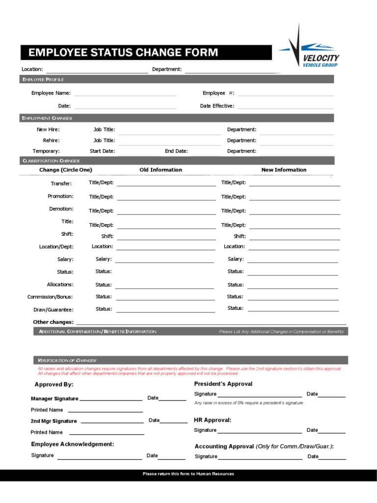 Employee Status Change Form - 4 Free Templates In Pdf, Word with Word Employee Suggestion Form Template