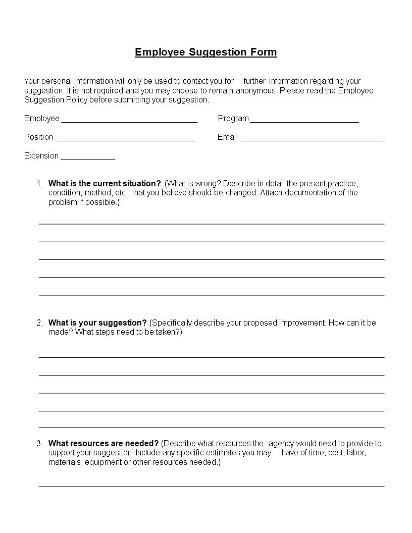 Employee Suggestion Form Word Format | Templates At For Word Employee Suggestion Form Template
