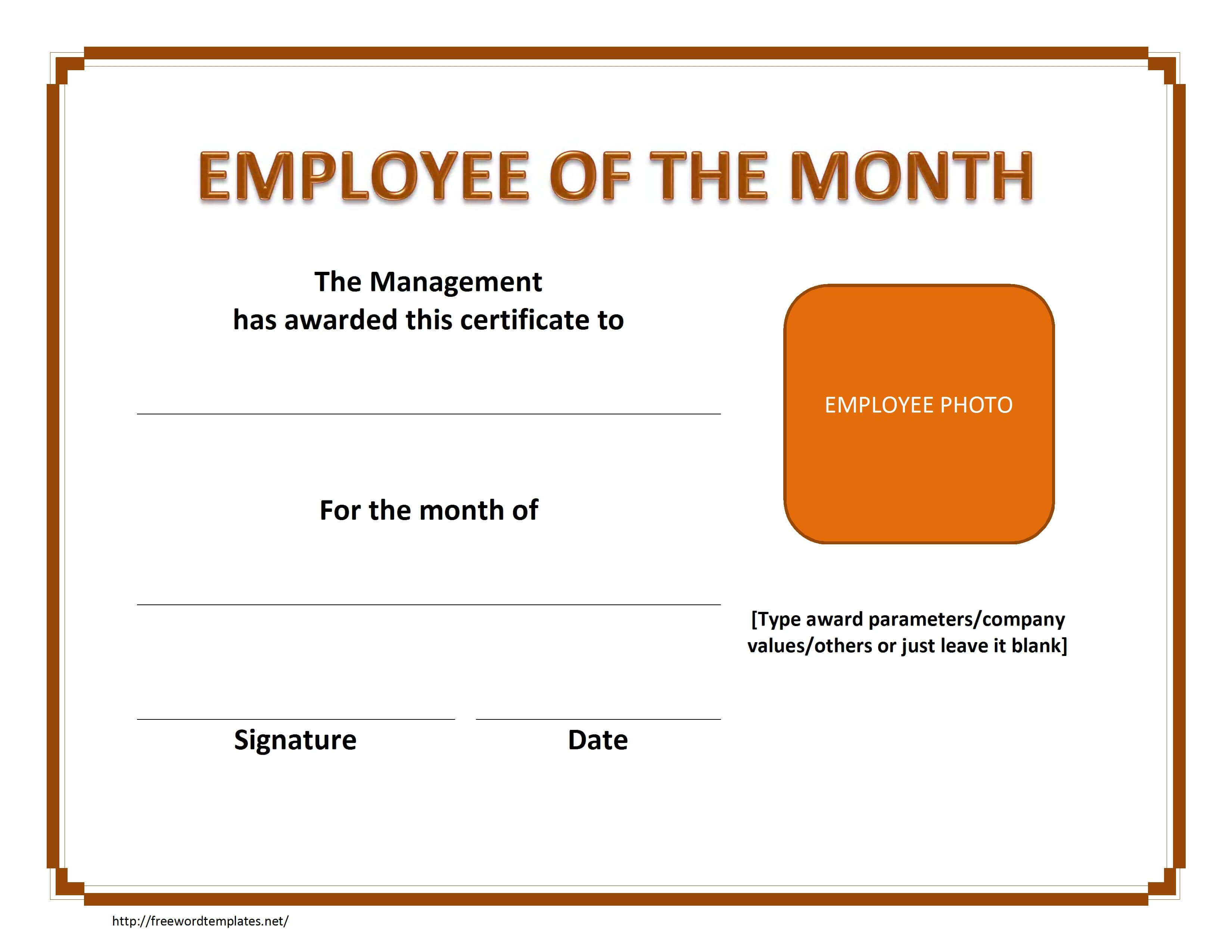 Employee The Month Certificate Template Free Microsoft Word within Employee Of The Month Certificate Template With Picture